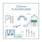 Campo de jogos do ` s das crianças na linha arte Imagem de Stock