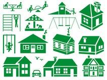Campo de jogos e casa Imagem de Stock Royalty Free
