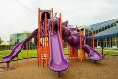 Campo de jogos moderno das crianças no parque Fotografia de Stock