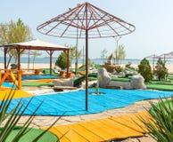 Campo de jogos na praia da mola em Sunny Beach em Bulgária Fotos de Stock