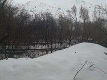 Campo de la ca?da de la nieve del invierno imagen de archivo libre de regalías