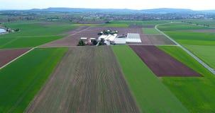 Campo de la fresa, contra el contexto de un complejo grande del calor Vuelo sobre la zona agrícola almacen de metraje de vídeo