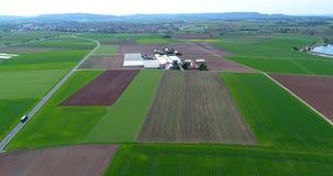 Campo de la fresa, contra el contexto de un complejo grande del calor Vuelo sobre la zona agrícola metrajes