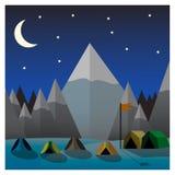 Campo de la montaña en la noche Ejemplo plano del vector del diseño Imagen de archivo libre de regalías