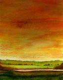 Campo de la puesta del sol Imagenes de archivo