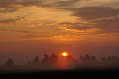 Campo de la salida del sol con la niebla. Foto de archivo libre de regalías
