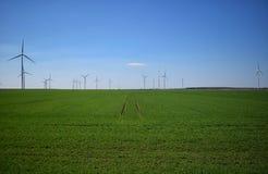 Campo de la turbina de viento Imagen de archivo libre de regalías
