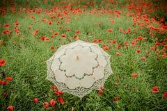 Campo de las amapolas con la interpretación artística del paraguas Foto de archivo libre de regalías