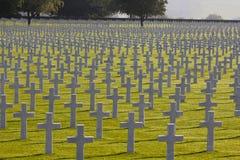Campo de las cruces Mark American Graves, WWII Fotos de archivo libres de regalías