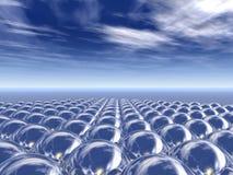 Campo de las esferas del cromo ilustración del vector
