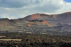 Deserto vulcânico selvagem no parque nacional de Timanfaya, Lanzarote Islan fotos de stock royalty free