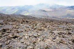 Campo de lava endurecido em Monte Etna em Sicília foto de stock royalty free