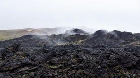 Campo de lava quente preto Leirhnjúkur de Krafla fotos de stock