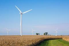 Campo de maíz con las turbinas de viento Foto de archivo libre de regalías