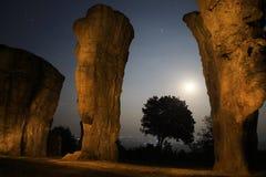 Campo de piedra bajo claro de luna Imágenes de archivo libres de regalías
