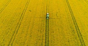 Campo de pulverização da violação de semente oleaginosa do trator Fundo da agricultura Silhueta do homem de negócio Cowering vídeos de arquivo