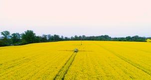Campo de pulverização da violação de semente oleaginosa do trator Fundo da agricultura Silhueta do homem de negócio Cowering 4K vídeos de arquivo