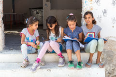 Campo de refugiados de Lagadikia, Grécia Fotografia de Stock