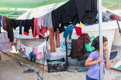 Campo de refugiados de Lagadikia, Grécia Fotografia de Stock Royalty Free