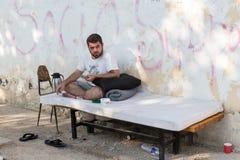 Campo de refugiados de Lagadikia, Grécia Imagem de Stock Royalty Free
