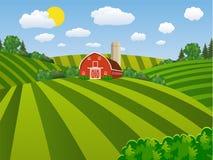 Campo de semeação verde da exploração agrícola dos desenhos animados, ilustração stock