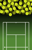 Campo de tenisy bola de Porción de bolas Fondo del tenis deportes Foto de archivo libre de regalías