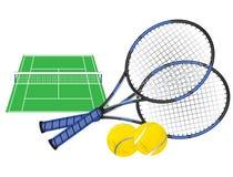 Campo de tenis y raquetas Imagen de archivo libre de regalías