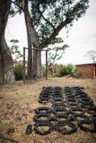 Campo de treinos de novos recrutas com curso de obstáculo dos pneumáticos e experimentação da aptidão Fotografia de Stock Royalty Free