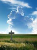 Campo de trigo con el cielo cruzado y nublado Fotos de archivo libres de regalías