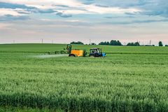 Campo de trigo de pulverização do fazendeiro com o pulverizador do trator na estação de mola imagem de stock royalty free