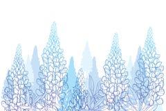 Campo de vetor grupo da flor do bluebonnet do tremoceiro ou do Lupine ou de Texas do esboço, botão e folhas ornamentados no azul  ilustração stock