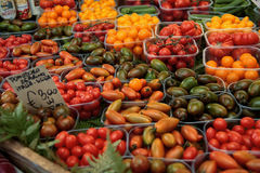 Campo dei fiori market. A lot of tomatoes at an outdoor market Royalty Free Stock Photography