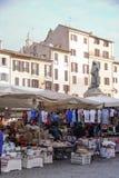 Campo dei fiori market. AT ROME ON 01/04/2018 - The market of Campo dei fiori and the statue of Giordano Bruno in Rome, Italy Royalty Free Stock Images