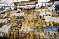 At Campo dei Fiori. The pasta seller at Campo dei Fiori in Rome Stock Photo