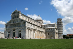 Campo dei Miracoli of Pisa, Italy. Photograph of the Campo dei Miracoli (Field of Miracles) square with the Romanesque cathedral and the famous Leaning Tower of Royalty Free Stock Photography