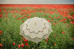 Campo dei papaveri con l'interpretazione artistica dell'ombrello Fotografia Stock