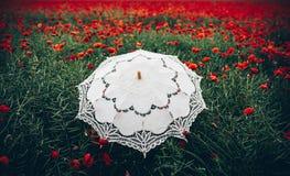Campo dei papaveri con l'interpretazione artistica dell'ombrello Immagini Stock Libere da Diritti