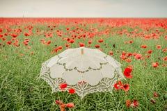 Campo dei papaveri con l'ombrello Interpretazione artistica Immagine Stock
