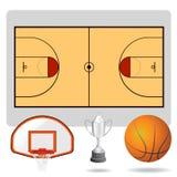 Campo del baloncesto, bola y vector de los objetos Imagen de archivo