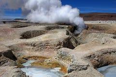 Campo del géiser del solenoide de manana, Bolivia Foto de archivo