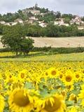 Campo del girasol con la aldea de Le Crest Imagenes de archivo