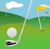 Campo del golf con el backgroung divertido Imagenes de archivo