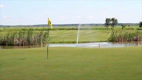 Campo del golf con la charca almacen de video