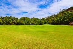 Campo del golf - isla Praslin Seychelles Fotografía de archivo libre de regalías