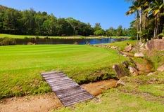 Campo del golf - isla Praslin Seychelles Fotografía de archivo