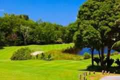 Campo del golf - isla Praslin Seychelles Imagen de archivo