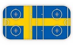 Campo del hockey sobre hielo texturizado por la bandera de Suecia En relación con la competencia del mundo Foto de archivo libre de regalías
