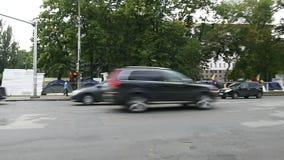 Campo del manifestante delante del edificio de la presidencia en el Moldavia, Chisinau almacen de metraje de vídeo