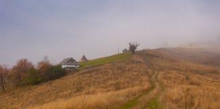 Campo del otoño en la niebla Foto de archivo libre de regalías