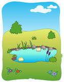 Campo del prato e piccolo lago Illustrazione di Stock